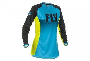 Fly Racing Lite Women Kid Jersey Blue/Neon Yellow