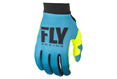 Gants fly racing pro lite fille bleu jaune fluo kid m