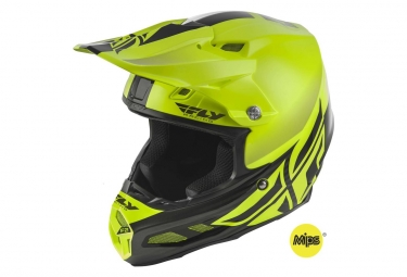 Casque fly racing f2 mips shield jaune fluo noir xs 53 54 cm
