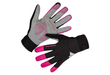 Endura Windchill Women Windproof Long Gloves Black Cerise Pink