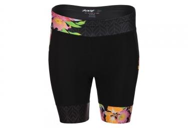 Short tri-fonction Femme Zoot Cycle Limited 7'' Aloha Noir Orange Rose