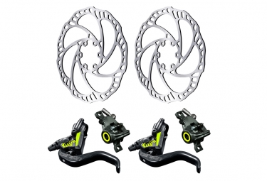 Pair of Disc Brake Magura MT8 SL Black/Yellow 2019 with MAGURA STORM SL 2 Rotor