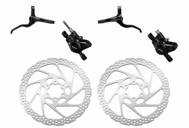 Pair of Brake Shimano Acera BR-MT400 1000mm 1700mm Black with Shimano Deore SM-RT56 6-Bolt Rotor Silver 160 mm