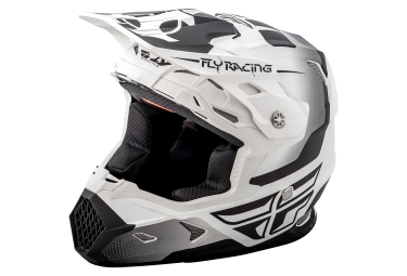 Casque integral fly racing toxin blanc noir mat l 59 60 cm