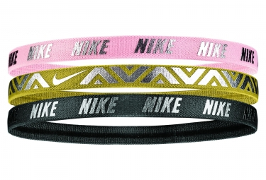 Nike Metallic 3 PK Haidbands Pink Gold Black