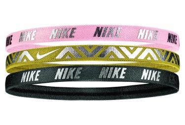 Mini Bandeaux Nike Metallic Haibands 3 Pack Rose Or Noir