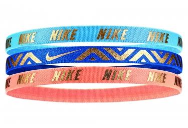 Girls Nike Metallic Headbands 3 PK Blue Pink