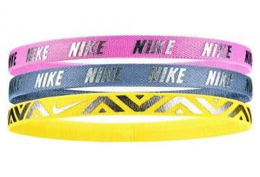 Girls Nike Metallic Haidbands 3 PK Pink Grey Yellow