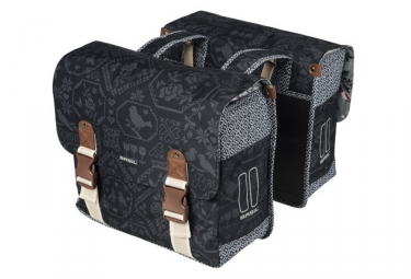 Basil Bohème Double Bike Bag Charcoal Grey