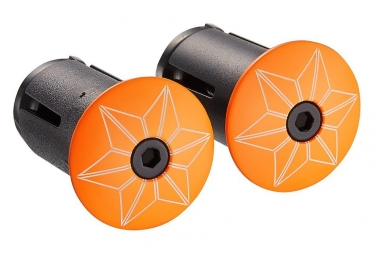 Embouts de cintre Supacaz Star Plugz (powder coated) Neon Orange