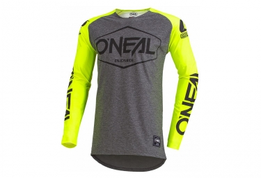 Maillot Manches Longues O'Neal Mayhem Lite Hexx Gris/Jaune Fluo