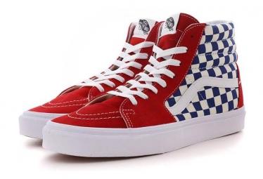 Chaussures vans bmx checkerboard sk8 hi rouge bleu blanc 41