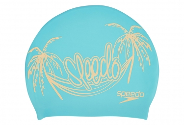 Speedo Slogan Print Swimcaps Blue
