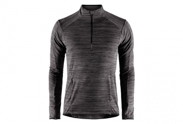 Craft Grid Half-zip Black Chine