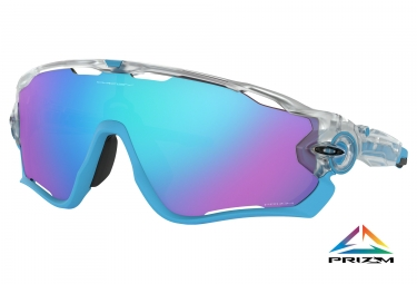 Paire de lunettes oakley jawbreaker crystal pop collection matte clear prizm sapphir