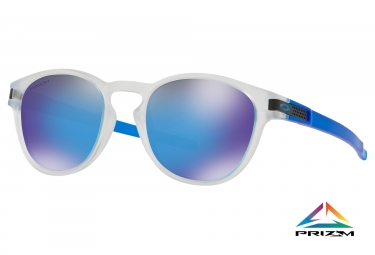 Paire de lunettes oakley latch crystal pop collection matte clear prizm sapphire oo9