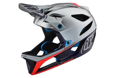 Casque integral troy lee designs stage race argent bleu marine brillant m l 57 59 cm