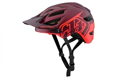 Casque vtt troy lee designs a1 classic mips bordeaux orange fluo mat xs 50 54 cm