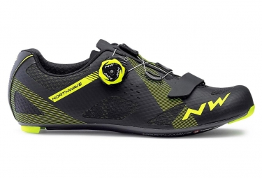 Chaussures route northwave storm carbon noir jaune fluo 41