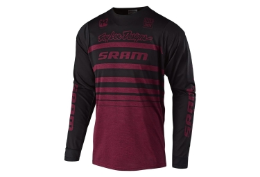 Troy Lee Designs Skyline Streamline Sram Long Sleeves Jersey Heather Sangria Red Black