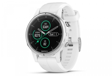 Garmin Fenix 5S Plus Sapphire GPS Watch Silver with White Band