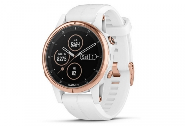 Garmin Fenix 5S Plus Sapphire GPS Watch Rose Gold-tone with White Band