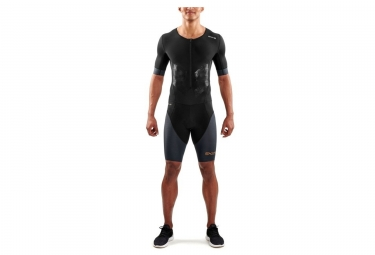 Skins dnamic triathlon skinsuit zip avant noir gris xl