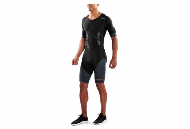 Skins DNAmic Triathlon Skinsuit Front Zip Black Grey