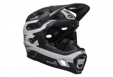Bell Super DH Mips Helmet with Removable Chinstrap Fasthouse Stripes Matte Black/White