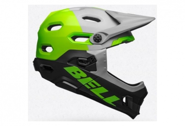 Bell Super DH Mips Casco con barbilla extraíble Unhinged Matte / Gloss Gray / Green / Black 2019