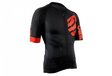 Maillot Manches Courtes Compressport Cycling On/Off Noir Rouge
