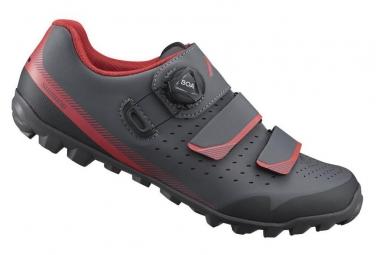 Paire de chaussures de velo shimano me400 noir rouge 41