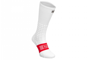Calcetines Compressport Full Socks Race Recovery - Blanc / Rouge