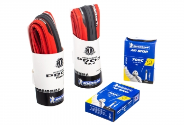 Pack 2 pneus michelin pro 3 race tringle souple rouge 23mm 2 chambres a1 18 25mm val