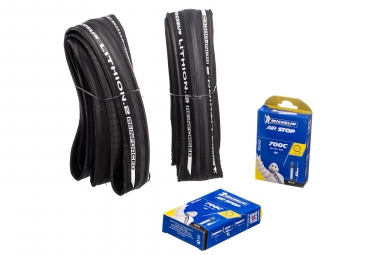Pack 2 pneus michelin lithion 2 reinforced v2 tringle souple gris 25mm 2 chambres a1