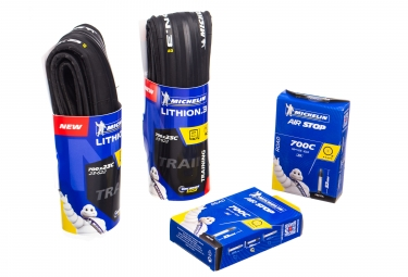 Pack 2 pneus michelin lithion 3 tringle souple 23mm 2 chambres a1 18 25mm valve 52mm