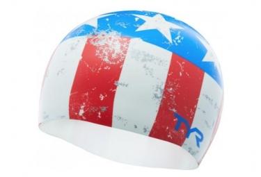 TYR EASY GLIDER SWIM CAP White Red Blue