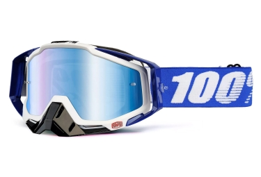 100% Racecraft Cobalt Goggles Blue White Mirror Blue Lens