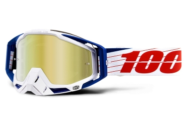 100% Racecraft Bibal White Goggles Blue White Mirror Gold Lens