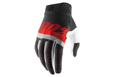 100% RIDEFIT Gloves Steel Grey Red