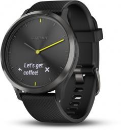 Montre connectee garmin vivomove hr noire avec bracelet en silicone noir