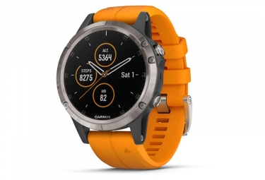 Garmin Fenix 5 Plus Sapphire GPS Watch Titanium with Solar Flare Orange Band