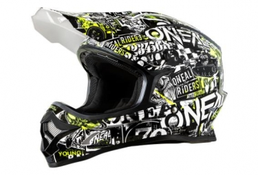 Casque integral enfant o neal 3series attack noir hi viz 49 50 cm