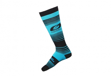 Paire de chaussettes hautes oneal pro mx stripes bleu noir