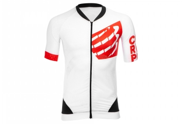 Maillot Manches Courtes Compressport Cycling On/Off Blanc Rouge