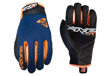 Paire de Gants Longs Five XC-R Bleu Marine Orange