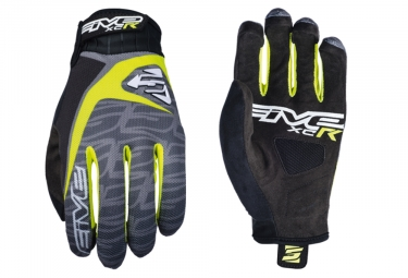Five XC-R Replica Long Gloves Black Fluo Yellow Grey