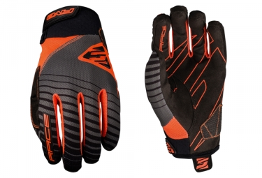 Five Race Long Gloves Grey Fluo Orange Black