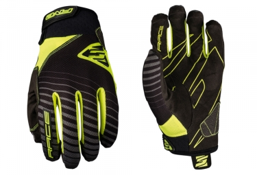 Five Race Long Gloves Black Fluo Yellow