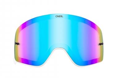 Ecran de Masque O'Neal B-50 Monture Blanc Ecran Miroir Bleu